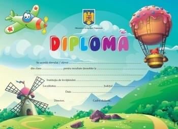 Diplomă clasa pregătitoare - balon si avion